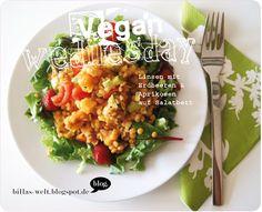 Lieblingsmüsli mit Beeren, Linsensalat mit Aprikosen, Ofenkartoffeln mit Gemüse, Belegte Brote mit Humus, Gurke und Salatblatt