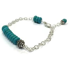 Turquoise Bracelet Sterling Silver Jewelry by jewelrybycarmal, $34.00