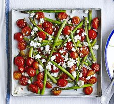 Roasted balsamic asparagus & cherry tomatoes – serve without the feta to make it vegan Source by momofcnk Bbc Good Food Recipes, Side Recipes, Healthy Dinner Recipes, Healthy Meals, Cherry Tomato Recipes, Vegetarian Side Dishes, Roasted Cherry Tomatoes, Bbq, Vegetable Dishes
