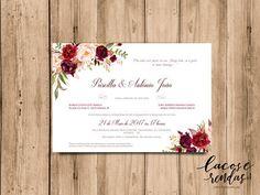ARTE PARA CONVITE DE CASAMENTO FLORAL MARSALA 03 Place Cards, Dream Wedding, Place Card Holders, Party, Big Pizza, Wedding Ideas, Weddings, Wedding Blog, Invitations