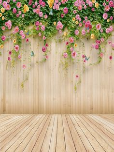 Amazon.com : 6.5ft(h)x5ft(w) Wedding Photography Backdrops no Crease Flower Wood Wall and Floor Background FT1489 : Camera & Photo