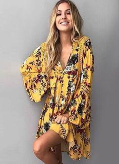 Polyester Blumen Lange Ärmel Über dem Knie Lässige Kleidung Kleider (1044995) @ floryday.com
