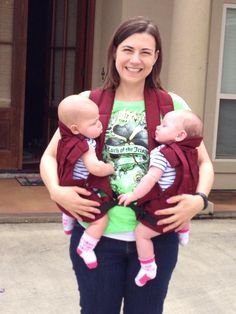 Great shot of the TwinTrexx twin baby carrier in action!