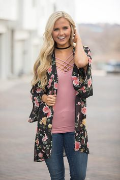 The Pink Lily - You'll Be Mine Floral Kimono Black , $36.00 (https://pinklily.com/youll-be-mine-floral-kimono-black/?utm_source=Customer List
