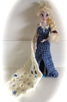 Of all of the dresses from Frozen, this one was the hardest to replicate in crochet. After all, Elsa has ice powers, where I'm armed only with a crochet hook and a ball of Lily Sugar 'n' Cream Deni...