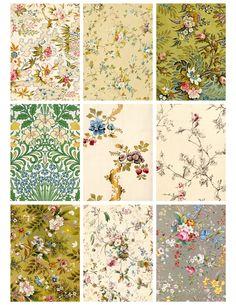 Jodie Lee Designs: Free Printable! Antique Flower Wallpaper Cards!
