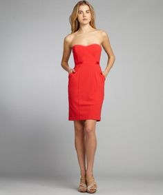 BCBGMAXAZRIA - currant woven pocketed strapless 'Daphine' bustier dress