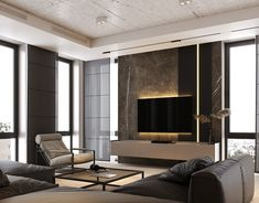 Dynasty with kitchen Thea Inox by ANOVA on Behance Apartment Projects, Apartment Interior, Tv Wall Design, House Design, Residential Architecture, Architecture Design, Modern Interior, Interior Design, Appartement Design