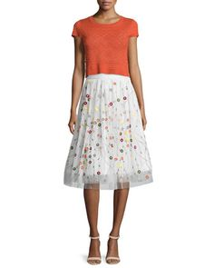 Tallie+Beaded+Pointelle+Tee+&+Catrina+Embroidered+Tulle+Skirt+by+Alice+++Olivia+at+Neiman+Marcus.