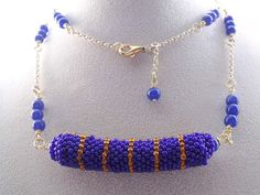 Long beaded necklace,woven blue seed beaded necklace, blue jewelry beadwork necklace. $75.00, via Etsy.