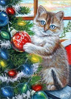 ACEO ORIGINAL KITTEN CAT HOLIDAY CHRISTMAS TREE SNOW NOEL RAINBOW LIGHTS     #Realism