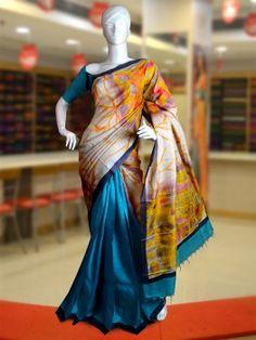 Abstract Print Patly Tussar Silk Saree