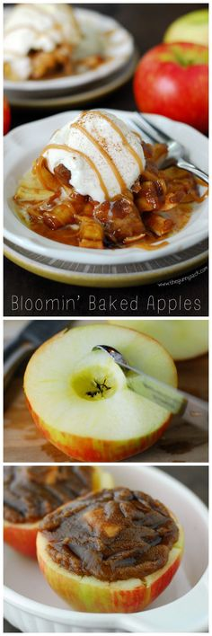 Bloomin' Baked Apples taste like apple pie with an ooey, gooey caramel center! This easy dessert recipe for fall and is made with Honeycrisp apples. Fruit Recipes, Apple Recipes, Fall Recipes, Sweet Recipes, Dessert Recipes, Cooking Recipes, Easy Desserts, Delicious Desserts, Yummy Food