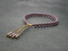 Amethyst Beaded Tassel Bracelet - Czech Glass - Yoga Bracelet - Water and Workout-Friendly! Diy Bracelets Instructions, Diy Bracelets Easy, Bracelets For Men, Handmade Bracelets, Handmade Beads, Tassel Bracelet, Initial Bracelet, Yoga Bracelet, Beaded Bracelets