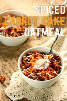 Spiced Carrot Cake Oatmeal w/ Coconut Cream {vegan & naturally sweetened! Breakfast Smoothies, Vegan Breakfast Recipes, Vegan Recipes, Brunch Recipes, Vegan Food, Breakfast Ideas, Carrot Spice Cake, Carrot Cake Oatmeal, Kitchens