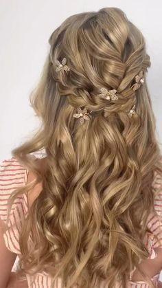 Long Hair Wedding Styles, Wedding Hairstyles For Long Hair, Wedding Hair And Makeup, Bride Hairstyles, Down Hairstyles, Hair Makeup, Hairstyle Short, School Hairstyles, Office Hairstyles
