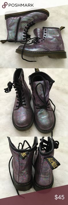 New Dr. Martens Purple glitter Delaney Combot boot New without the original box.  Glitter like design. Can lace up or zip on the inner side. Dr. Martens Shoes Boots
