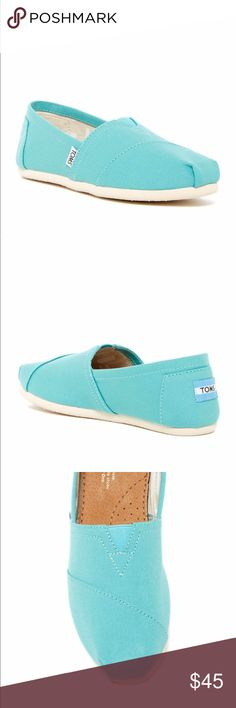 Toms - Aqua Slip On Shoes Toms slip on shoes in canvas material. Color aqua. New with tags. 💟 Offers welcome. 🙅🏻 No trades. 🎀 Bundle for discount. Toms Shoes