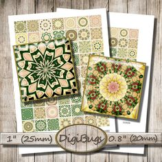 Printable Mandala Images, 0.8 inch, 1 inch Squares, 20 mm, 25 mm, Kaleidoscope for Magnets, Green Mandala Decoupage, Instant Download, b6 Diy Jewelry, Unique Jewelry, Pattern Mixing, Squares, Decoupage, Magnets, Mandala, Printables, Patterns