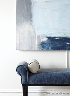 Another indigo and velvet pairing. Simple. Sublime. Minimal. Sophisticated. Image via New England Home