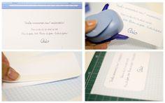 Faça você mesma o convite da festa!  1- escreva o que quer no word e imprima  2- corte as bordas  3- Cole fitas dupla-face na parte de trás  4- Cole em um papel de preferência decorado, deixe uma bordinha