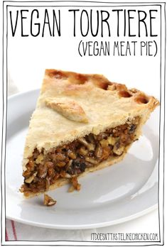 This savoury pie is made with tofu and mushrooms for the best chewy, juicy, meaty texture. A fantastic centrepiece for Thanksgiving or Christmas. Make ahead. Gluten-free and oil-free options. Vegan Dessert Recipes, Pie Recipes, Vegetarian Recipes, Cooking Recipes, Vegetarian Mexican, Curry Recipes, Easy Desserts, Vegan Foods, Vegan Dishes