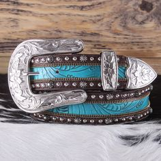 Tooled Turquoise Inlay Belt- Fall in love with this gorgeous turquoise inlay belt, perfect for dressing up any outfit