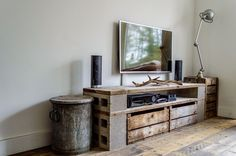Cinder concrete block tv stand robust