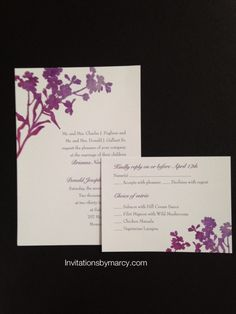 Wedding invitation Shades of purple
