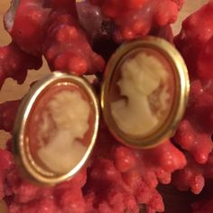 Vintage clip on cameo earring Beautiful lucite cameo clip on earring marked Hong Kong Cameo  Jewelry Earrings
