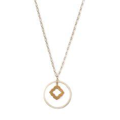 2 Tone Octagon Cutout Necklace