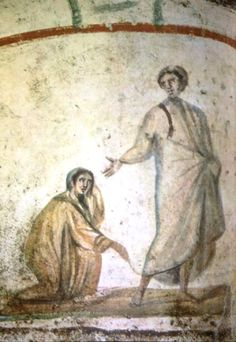 Healing a Hemorrhage, IV BCE. Catacomba dei Santi Pietro e Marcellino, Roma… Early Christian, Christian Art, Noli Me Tangere, The Catacombs, Greek Gods And Goddesses, Biblical Art, Roman History, Chef D Oeuvre, Christ
