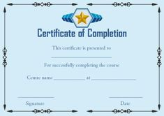 Certificate of Successful Completion Template Training Certificate, Certificate Of Achievement, Certificate Of Completion Template, Certificate Templates, Event Template, Template Site, Free Certificates, Certificate Of Appreciation, Joining The Army