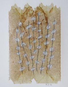 April 5 2012 daily drawing on tea bag by Patti Roberts-Pizzuto, 2012 (Missouri Bend Studio).