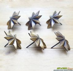 """1.88"""" inches Lot of 6 pcs Vintage Solid Brass Retro WESTERN STAR Nail / Spike / Thumbtack / Hob Decor AA028 by ArtsofBrass on Etsy"""