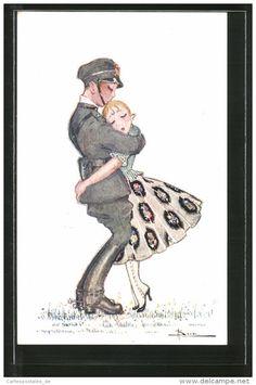 CPA Illustrateur Adolfo Busi: Ultimo Addio, Soldat Umarmt Seine Geliebte