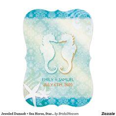 "Jeweled Damask + Sea Horse, Starfish Beach Wedding 5"" X 7"" Invitation Card"
