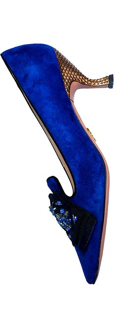 Prada ~ Indigo Blue Suede Low Heel Pump