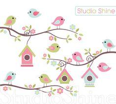 Digital Clipart Home Tweet Home Cute Birds Clip by StudioShine