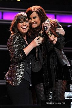 Demi Lovato and her idol Kelly Clarkson