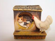 "Lowell Davis Cat Tales ""Right Church Wrong Pew"" Cat w/ Kittens  Rooster picclick.com"