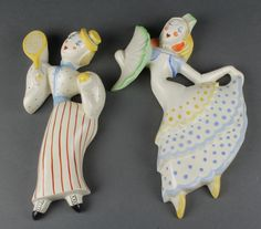 "Lot 90, An Art Deco Royal Crown Devon pottery figure of a tennis player 10"" and 1 other of a lady with fan (f and r) 11"" Est £80-120"