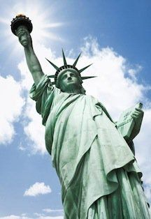 Goddess of Liberty holds the torch of the Flame of Freedom for the United States