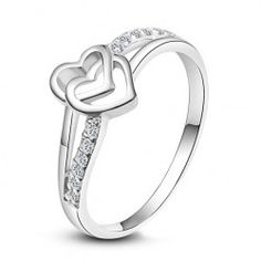 Double Heart White Gold Plated Cupronickel Women Ring - USD $39.95