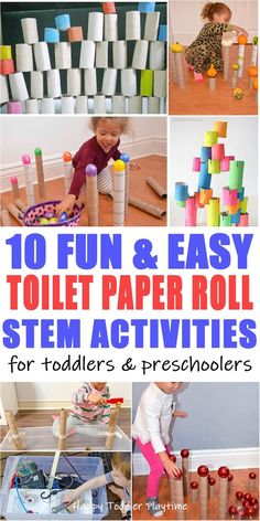 65+ Easy Toilet Paper Roll Activities - HAPPY TODDLER PLAYTIME Here are 65+ fun & easy toilet paper roll activities for toddlers and preschoolers! From STEM activities to crafts to learning activities and more!  #scienceactivities #toddler #preschool