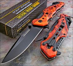 RED CAMO Folding Pocket Knife Black Stainless Blade Glass Breaker Stainless Clip #TacForce