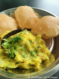 poori bhaji is a versatile wholesome breakfast dish that is quite popular across india. no one would miss this dish in any restaurant's breakfast and snacks menu Puri Recipes, Veg Recipes, Indian Food Recipes, Vegetarian Recipes, Cooking Recipes, Recipies, Indian Snacks, Snacks Recipes, Aloo Curry