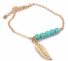 Golden Feather Charm Bracelet With Turquoise Beads Boho Chic