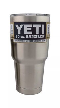 """We were given a pair of the silver 30 ounce Yeti tumbler for Christmas.  I tested the """"cold"""" length for water.  I can add 2 normal size ice cubes to a full tumbler, and the water stays cool overnight- into the morning.  So at least 8 hours.  Ours came with a lid and straw.  We use these daily now.  Picture: eBay affiliate link."""
