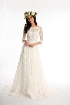 All over lace vintage wedding dress.